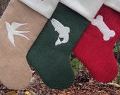 Christmas Stockings set of Three Burlap Christmas Stockings, Custom Colors, two Large and one Pet Size