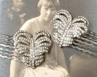 PAIR Art Deco Hair Combs, Vintage Art Nouveau 1920 Rhinestone Feather / Bridal HeadPiece, Pave Silver Wedding Dress Clips to Hairpiece