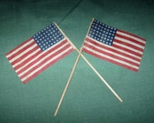 2 Vintage 48 Star American US Fabric Parade Flags on Stick/Dowel Pair 4th Of July