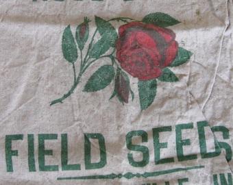 Vintage Red Rose Seed Feed Sack Bag Sack Advertising Red Green