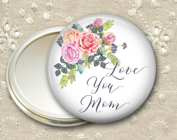 Mother's Day gift for her, rose pocket mirror, flower hand mirror, mirror for purse, compact mirror, fashion accessory MIR-1405