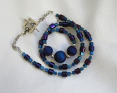Beautiful blues and purples standout on this wonderful necklace