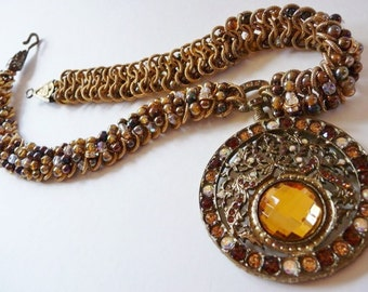 Jay Feinberg Strongwater necklace | signed estate vintage | wedding formal | golden topaz | Swarovski rhinestones