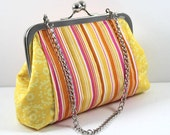 SALE Pink Stripes and Yellow Pattern clutch , Cosmetic Bag, Essentials purse, Money and Keys Bag, with Chain to Hold FREE SHIPPING