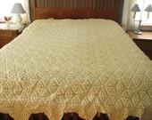 Vintage Crocheted Bedspread, popcorn stitch, cream