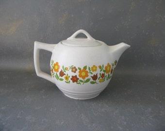 Vintage Ceramic McCoy Teapot, floral, flowers, fall colors, 70s, 140