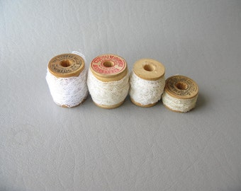 Vintage Lace on Wood Spools, yardage, trim, gift wrap, sewing, crafts, assorted