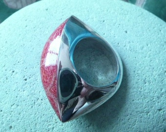 Vintage Sterling Silver Ring with Bali Coral