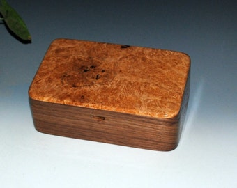 Handmade Walnut and Maple Burl Wood Stash Box, Keepsake Box, Jewelry Box or Desk Box - Wood Jewelry Box, Wooden Jewelry Box, Guy Gift Box