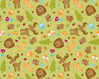 Happy Camper Woodsy Animals On Green Food Safe Cotton Laminate NOT Oilcloth  Tablecloth, Art Mat