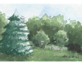 Original Watercolor Landscape Painting by Laura D. Poss, 4 x 6 inches