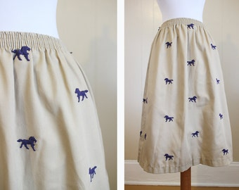 Preppy Embroidered Skirt Vintage Horses Khaki Navy Blue Small