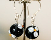 Dark Montana Blue with White Lampwork Flowers Glass Earrings with Sterling and Bali Silver, designbybehin Earrings