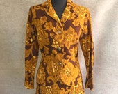Vintage 60's Skirt Suit, TIki Barkcloth Style in Brown, Gold, and Yellow, Wiggle Pencil Skirt, Women's Size Small to Medium