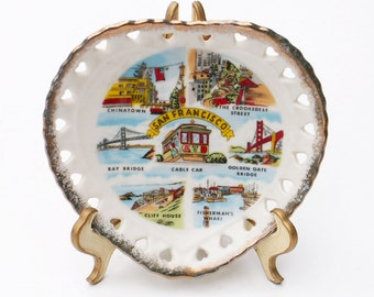San Francisco Collectors Plate Gold Rim Heart Shaped Souvenir Scenic Landmarks