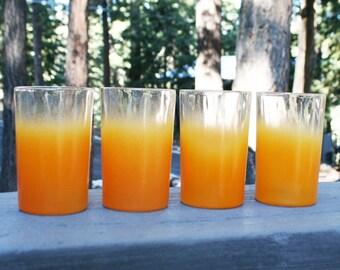 Vintage Set of 4 Orange Blendo Juice Glasses