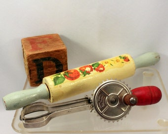 Toy Wood Rolling Pin and Egg Beater Baking Set 1940s 50s Strawberry Decal Country Kitchen Decor