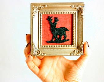 Sparkly Green Reindeer Silhouette in a Mini Frame. Stocking Stuffer, Christmas Decor, Punchneedle Embroidery Red and silver. Ready to Ship!