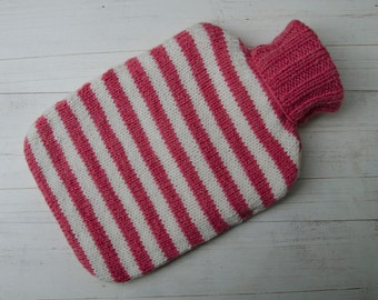 Knitted Hot Water Bottle Cover in Pink and Cream stripes