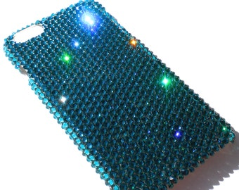 For iPhone 4 4S - Zircon - Turquoise - Rhinestone BLING Back Case handmade with 100% Crystals from Swarovski