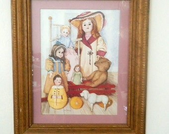 Antique Dolls Print - Oak Framed Picture - Artist Pat Young