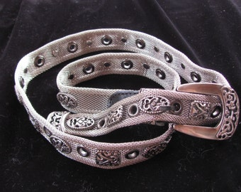 Mesh Silver Belt with Leather Buckle and Silver Tip
