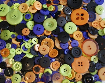 500 Buttons, Halloween Mix, Assorted Buttons, Lime Green, Orange, Purple, Black (975)