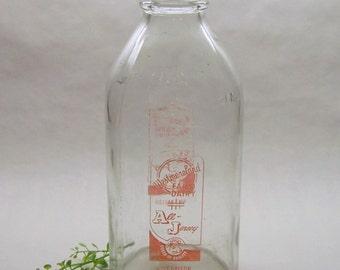 Vintage Westmoreland Farm Dairy Milk Bottle, Half Gallon Milk Bottle, Glass Milk Bottle, Farm House Decor