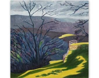 Winter landscape, original painting, oil, Derbyshire, 40 x 40 cm