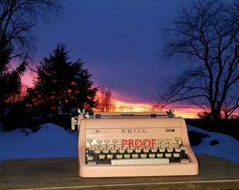"""sunset photo with Pinky the Royal typewriter, 8"""" x 10"""" in size."""