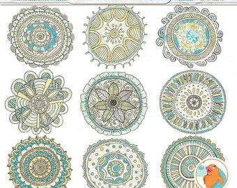 SALE - Medallion ClipArt, Boho Chic Mandala Clip Art Illustrations, Bohemian Sunshine Graphic Design Element, Decorative Instant Download