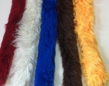 "Faux Fur Tail 23""to 28"" LONG - Clip on Fur Tail- Cranberry, Off White, Blue, Frosted Brown, or Yellow -One Faux Fur Tail - Long Costume Tail"