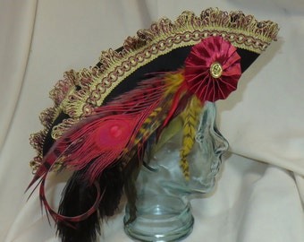 Black, Red and Gold Pirate Hat- Fancy Black Wool Tricorn with Red and Gold Trim, Ostrich, Rooster, Peacock and Pheasant Feathers