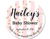 Custom Baby Shower Labels Personalized With Pink Stripes and Gold Confetti Round Glossy Designer Stickers - Quantity 100