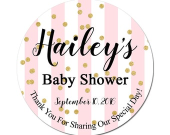 Custom Baby Shower Labels Personalized With Pink Stripes and Gold Confetti Round Glossy Designer Stickers