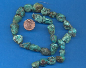16 Inch Strand of Turquoise Nugget Beads, 16mm-22mm