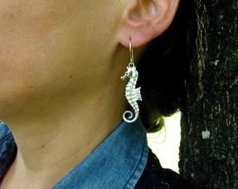 Sea Horse Earrings-Silver Earrings-Argentium-Dangle-Art Jewelry