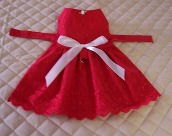 Handmade Small Red Eyelet Dog Dress Bow Rosette Clothing Apparel