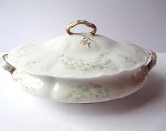 Vintage Syracuse Covered Serving Bowl Blue Green Floral - Cottage Chic