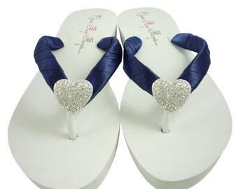Heart Wedding Flip Flops Bridesmaid Navy Blue Bride Wedges Ivory
