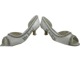 Bridal Ivory Peep Toe High Heels- Personalized Wedding date & new last name- choose heel height, 4.5, 3.5, 2 inch
