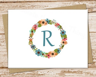 monogram stationery note cards . initial notecards . floral flower wreath . folded personalized . stationary . botanical card . set of 8