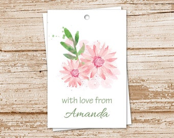 PRINTABLE daisy gift tags . personalized tags . watercolor pink daisies . floral botanical flowers tags . birthday gift tags . You Print