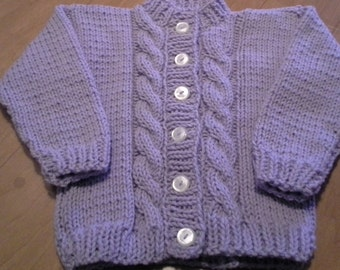 Hand Knitted Toddlers Childs Girls Button  Long Sleeved Cardigan