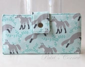 Handmade women wallet clutch - Cute fox and little friends - ID clear pocket - custom order - purse  clutch - wallets for women