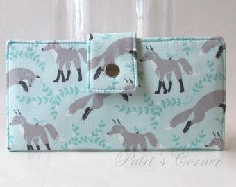 Handmade women wallet clutch - Cute fox and little friends - ID clear pocket - custom order - purse  clutch - wallets gift ideas fro her