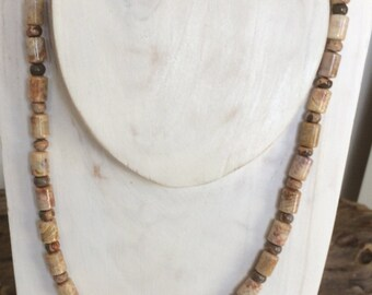 Unisex Necklace Mens Necklace Fossil Coral Safari Stone Rustic Necklace Handmade