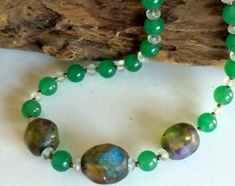 Necklace of Basha beads, green aventurine, and jade