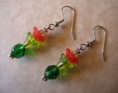Colorful Cactus Flower Glass and Lucite Bead Earrings