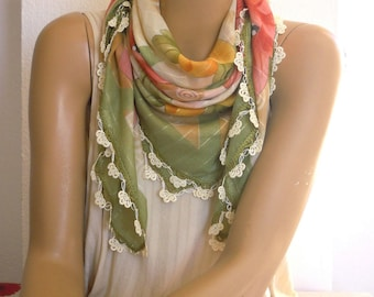 green scarf with crochet edging